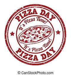 stämpel, dag, pizza