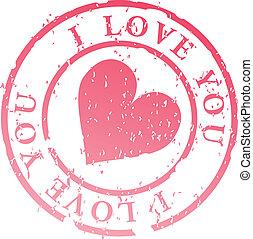 stämpel, dig, kärlek