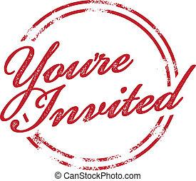 stämpel, du blir inbjuden, invitera, rsvp