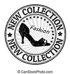 stämpel, färsk, sko, kollektion