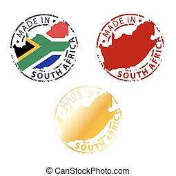 stämpel, gjord, afrika, syd
