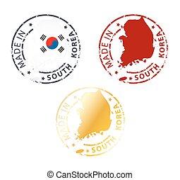stämpel, gjord, sydkorea
