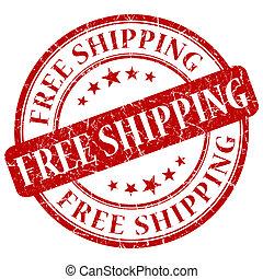 stämpel, gratis, skeppning, röd