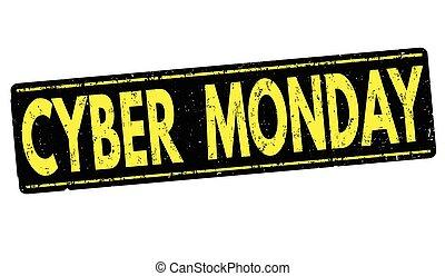 stämpel, grunge, cybernetiska, måndag