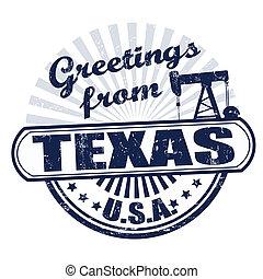stämpel, hälsningar, texas