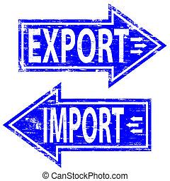 stämpel, import, exportera