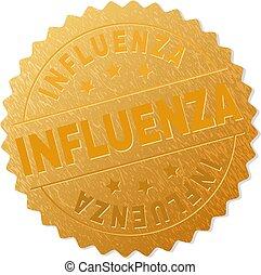 stämpel, influensa, emblem, guld
