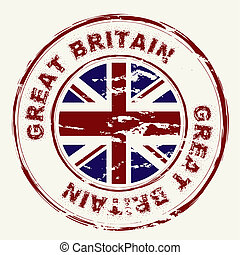 stämpel, ivrig, grunge, storbritannien, bläck