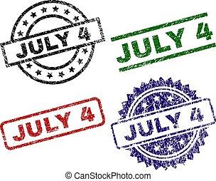 stämpel, juli, tätningar, strukturerad, 4, skrapet