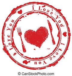 stämpel, kärlek