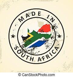 stämpel, karta, flagga, afrika, syd