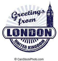 stämpel, london, hälsningar