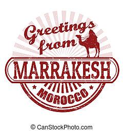 stämpel, marrakesh, hälsningar