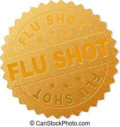 stämpel, medalj, influensa fotograferade, guld