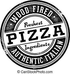 stämpel, meny, ved, avfyrat, pizza