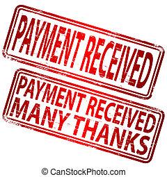 stämpel, mottagen, betalning
