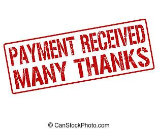 stämpel, mottagen, många, tack, betalning