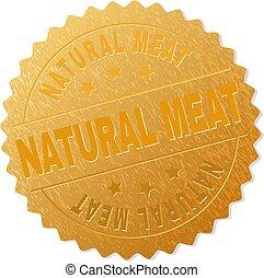 stämpel, naturlig, medalj, kött, guld