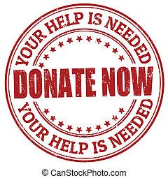 stämpel, nu, donera