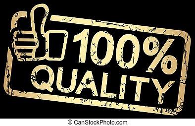 stämpel, text, 100%, kvalitet, guld