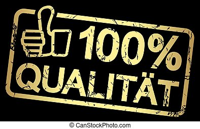 stämpel, text, 100%, qualität, guld
