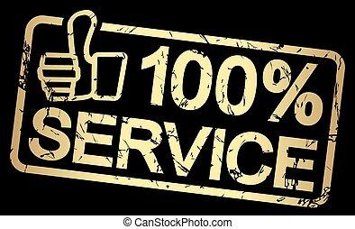 stämpel, text, 100%, service, guld