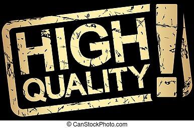 stämpel, text, hög, kvalitet, guld