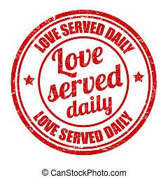 stämpel, tjänat, kärlek, dagligen