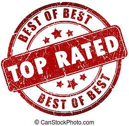 stämpel, topp, rated