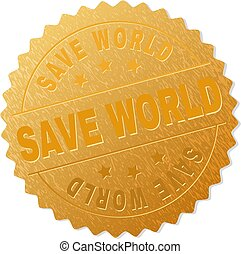stämpel, värld, räddning, guld, medaljong