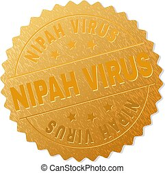 stämpel, virus, nipah, emblem, guld