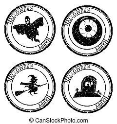 stämpla ikon, retro, postal., ögon, vektor, seal., sätta, kyrkogård, häxa, silhuett, pass, isolerat, texture., runda, halloween, design., grunge, design, spöke
