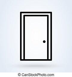 stängd dörr, illustration, ikon, vektor, förfaringssätt., design, nymodig