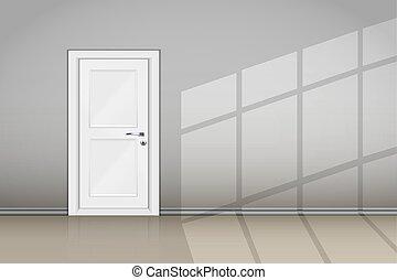 stängd dörr, vägg, grå