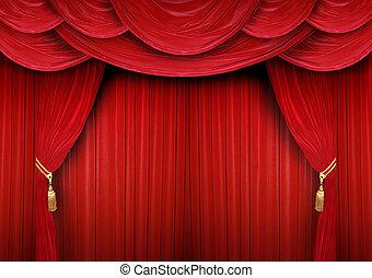 stängd, gardin, av, a, teater