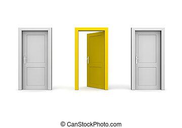 stängd, -, grå, gul, två, tre, dörrar, en, öppna