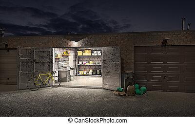 stängd, natt, två, 3, en, parkera bilen i garage, illustration, öppnat, tre