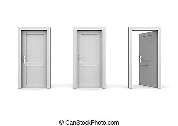 stängd, rättighet, -, tre, grå, två, dörrar, en, öppna