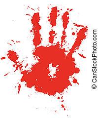 stänka ner, droppe, hand, plaska, blod, vector., bläck, tryck, röd
