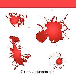 stänka ner, plaska, blod, vector., måla