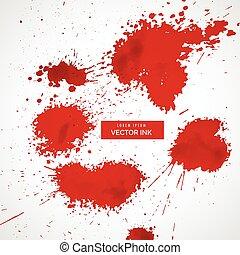 stänka ner, vektor, sätta, blod, röd