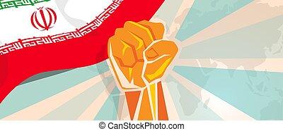 stärke, iran, plakat zeigen, symbolisch, aufstand, protest, kampf, faust, hand, kampf, propaganda, unabhängigkeit