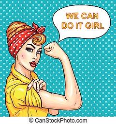 stärke, sie, hausfrau, frau, attraktive, demonstrieren, knall, sicher, kunst