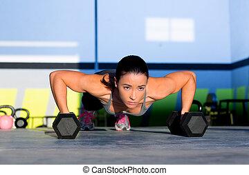 stärke, turnhalle, liegestütz, frau, pushup, hantel