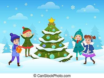 stå smile, børn, card., har, træ, ferier, forest., morskab, dekorer, glad christmas, vinter