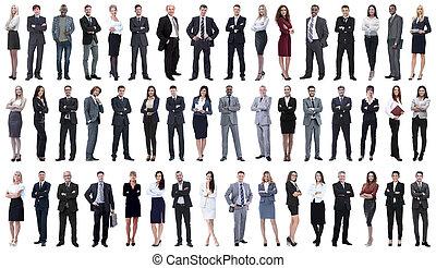 stående, affärsfolk, collage, ung, row.
