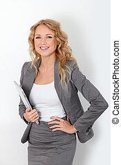 stående, affärskvinna, vit, touchpad, bakgrund