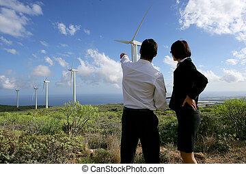 stående, affärsverksamhet koppla, turbiner, fält, linda