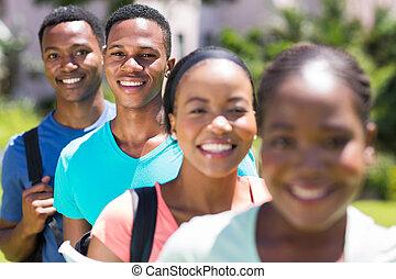 stående, amerikan,  student, afrikansk, manlig, Rad