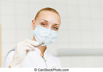stående, arbetare, dental